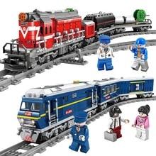 NEW City Train Power-Driven Diesel Rail Train Cargo With Tracks Set Model Technic Building Blocks Toys for Children Gift цены онлайн