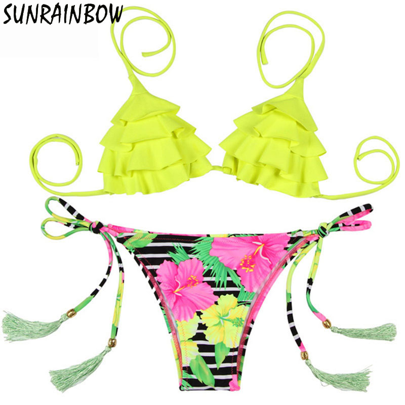 SUNRAINBOW 2019 New Sexy Bikinis Women Swimsuit Summer Floral Tassel Swim Top Bathing Suit Padded Swimwear Brazilian BiquiniSUNRAINBOW 2019 New Sexy Bikinis Women Swimsuit Summer Floral Tassel Swim Top Bathing Suit Padded Swimwear Brazilian Biquini