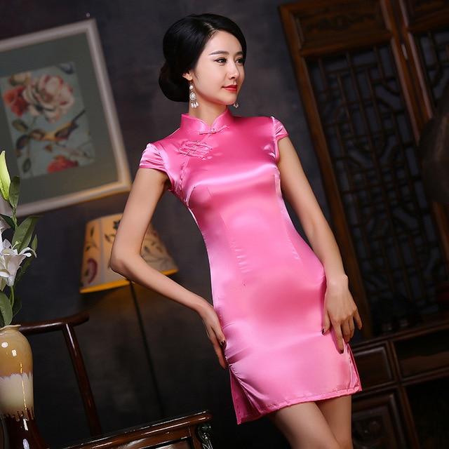 2017 Qipao Chinese Traditional Dress Pink Cheongsams Short Sleeve Silk Qipao Dresses Vestido Evening Dresses