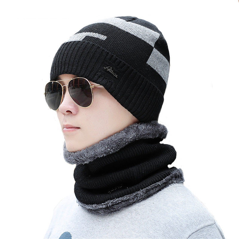 Winter Men's   Skullies     Beanies   Hat Scarf Set Knitted Hat Cap Male Gorra Bonnet Warm Winter Hats For Men Women   Beanies   Hats