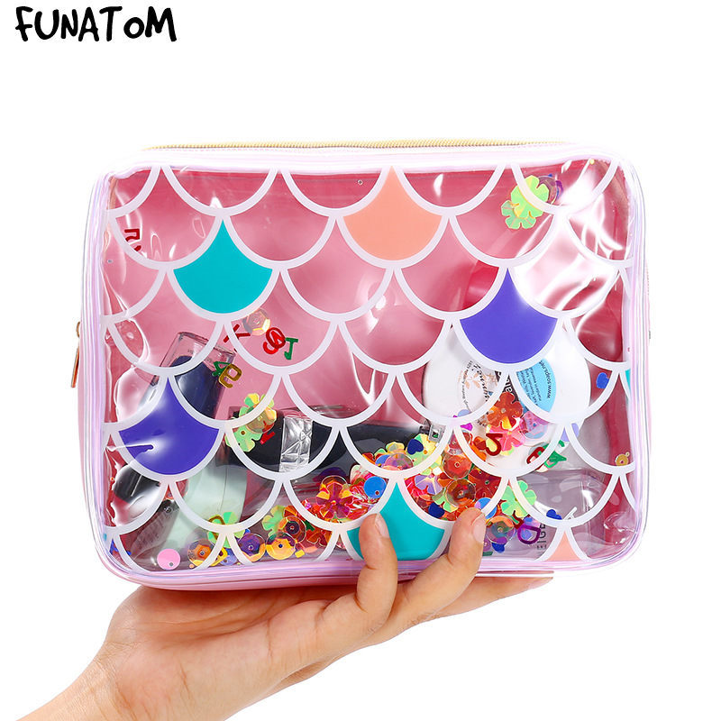 PVC Fish scale laser cosmetic bag Portable Waterproof Transparent MakeUp wash Bag Travel Toiletry Pouch