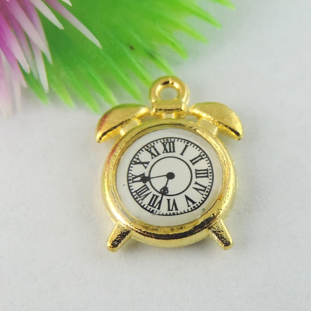 Wholesale 20pcs/Lot  Charm Pendants Clock Gold Jewelry MakingsFindings Jewelry finding fine Necklace Handmade Bracelet Decorate