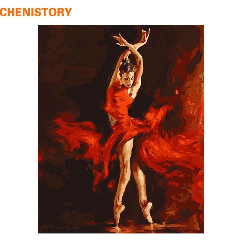 CHENISTORY Fogo Ballet Dancer Pintura By Numbers Kit Pintura Digital DIY Por Números Colorir Arte Retrato Da Arte Da Parede Para Parede
