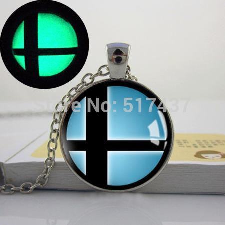 Glowing Jewelry, Handmade Super Smash Bros Smash Ball Pendant Necklace. art photo glow in the dark necklace