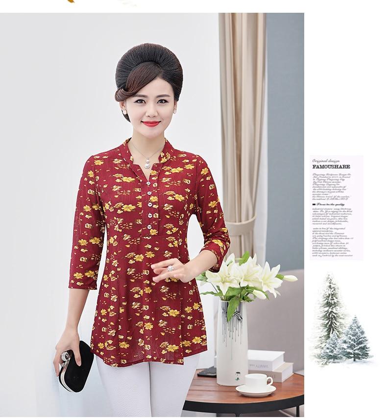 Women Flower Chiffon Blouses Three Quarter Sleeve Crepe Top Woman Peplum Tunic Red Green Print Shirt Plus Size Blouse Lady Shirt Spring (6)