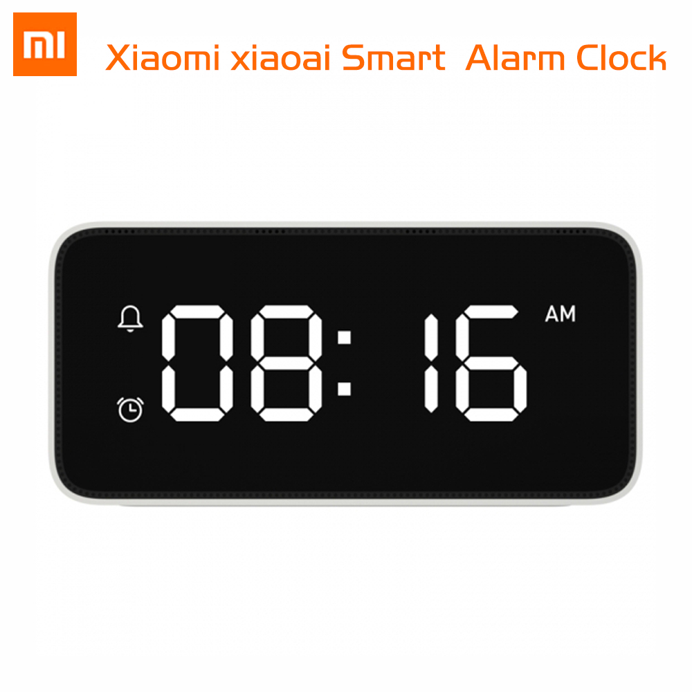 Original Xiaomi Xiaoai Smart Alarm Clock Voice Broadcast Clock ABS Table Dersktop Clocks AutomaticTime Calibration Mi Home App