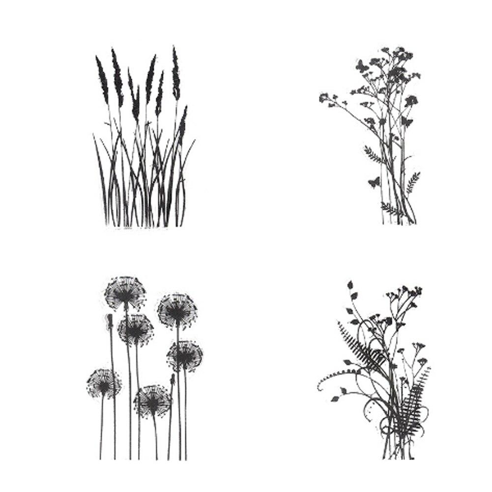 1 foglio di FAI DA TE misto foglie di erba disegno Scrapbooking Decorazione Trasparente Chiaro Timbro di Gomma di Tenuta per la Carta Del Mestiere 6.5*9 cm