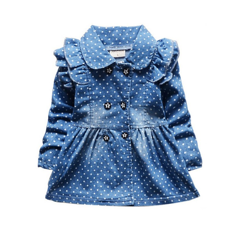 Lovely Baby Kid Girls Vintga Denim Ruffled Long Sleeve Skirt Dots Princess Coat Wrap Coat