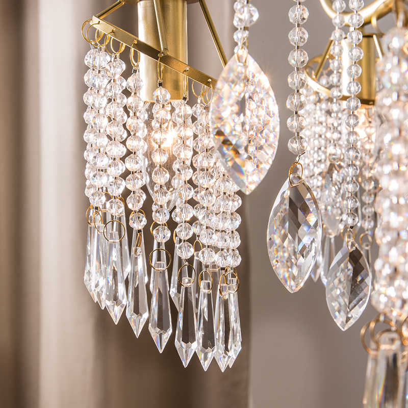 Mỹ chandelier living room phòng ăn đèn Châu Âu đèn chùm sáng tạo cá tính nghệ thuật đèn hậu hiện đại ngủ pha lê