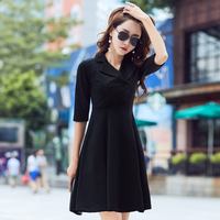 New Autumn Fashion Women Dress Notched Half Sleeve Double Breasted Slim Collect Waist Long Big Pendulum