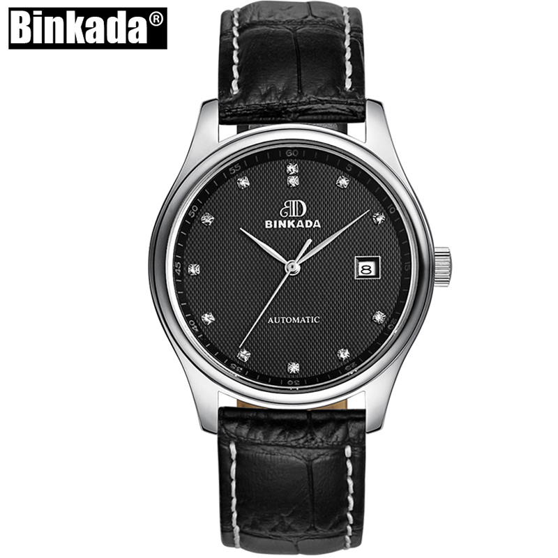 BINKADA Simple Mens Watches Top Brand Luxury Tourbillon Automatic Mechanical Watch Men Casual Leather Strap Skeleton Wristwatch top luxury brand men watches automatic double tourbillon mechanical wristwatch stainless steel strap blue dial binger b 8606a