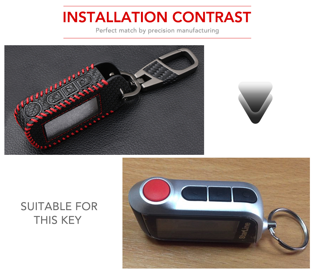 Image 2 - Carbon Fiber Style Leather A93 Car Key Case for Starline A39 A63 Two Way Car Alarm Remote Controller LCD Transmitter KeyChain-in Key Case for Car from Automobiles & Motorcycles