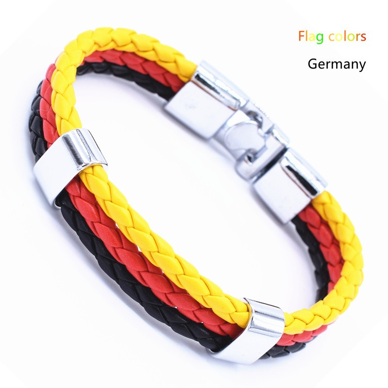 Wholesale Length 21cm 3 Strands Rope Braided Leather Chain & Link Bracelet Men Wristband National Flags Color Sports Bracelets 6