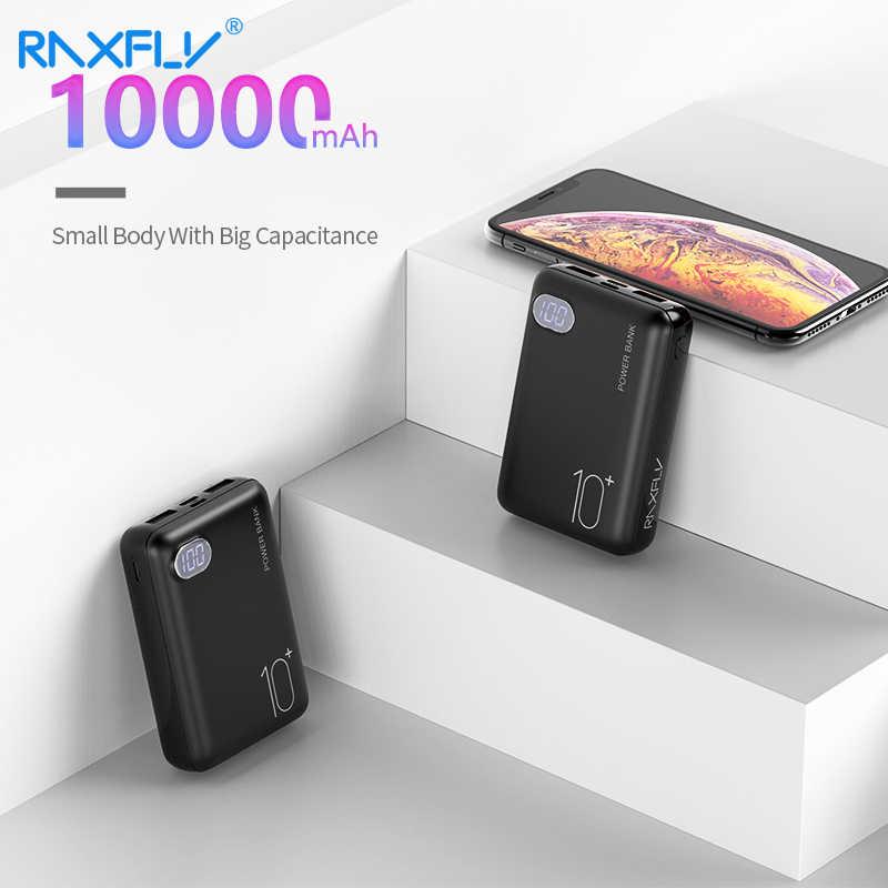 RAXFLY Mini power Bank 10000 мАч двойной USB выход 3 типа Входное зарядное устройство для Xiaomi Batterie Внешнее зарядное устройство Carregador Portatil