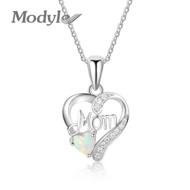 Modyle Fashion Opal mother crystal Heart pendant necklace for Woman Luxury  Mother's Day gifts