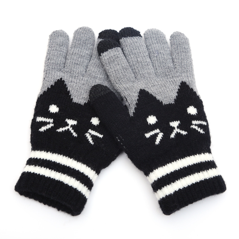 Cute Kitty Five Fingers Women's Knitting Touch Screen Gloves Jacquard Touch Screen Fingers Fashion Warm Gloves B46