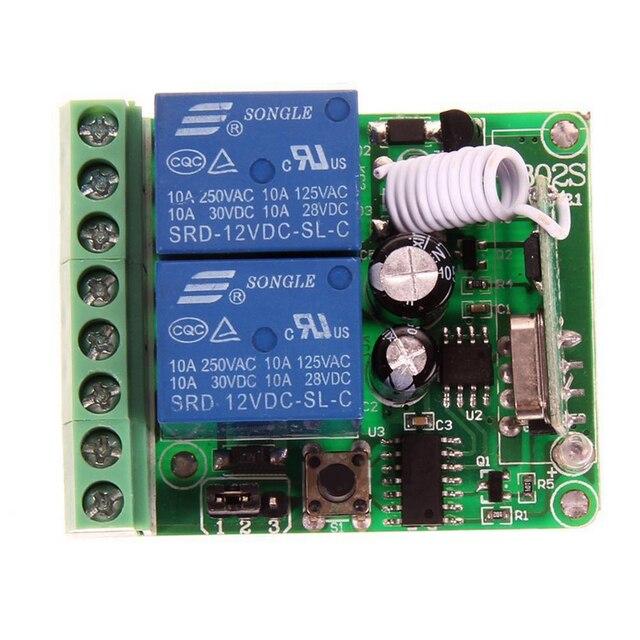Mayitr 1pc DC 12V 2 Ch Code dapprentissage relais récepteur 433MHz haute qualité sans fil télécommande émetteur pour télécommande