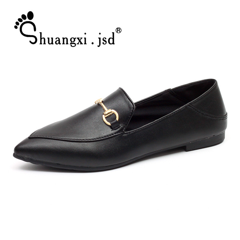 все цены на Women Shoes 2018 Spring Fashion Retro PU Leather Casual Flat shoes Shallow Mouth Woman Shoes Zapatos Mujer Sapato Feminino