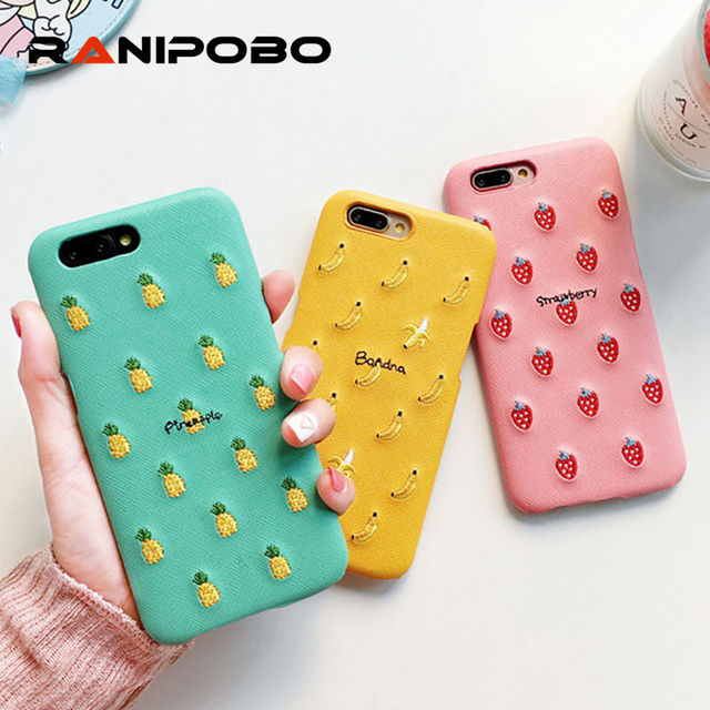 Cute Permen Warna PU Bordir Buah Pola Phone Case untuk iPhone X 6 6 ... 27b9ad5019