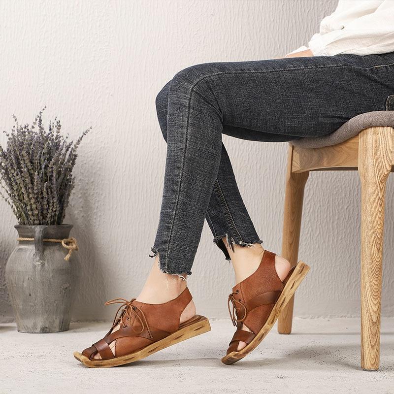 Sandales Véritable La D'origine Confortable Décontractées Rétro Plat En Camel Main Cuir Printemps Et Chaussures Pour Artdiya D'été Femmes Nouvelle Personnalité À Zqn4XXUw