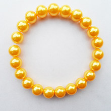 {Jewelry factory whole-sale Shallow orange 10MM Pearl bracelet, good quality Shallow orange Imitation pearl bracelet for 2019(China)