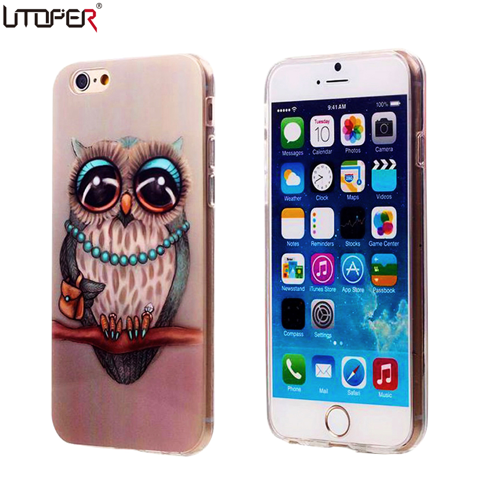 cute owl cartoon coque for iphone 6 6s case soft tpu. Black Bedroom Furniture Sets. Home Design Ideas