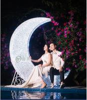 New wedding props european style iron moon boat theme wedding stage layout shooting props. Wedding Arches     -