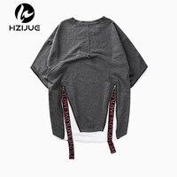 HZIJUE 2017 Brand Clothing New Summer Zipper Fake Two Pieces Mens Cotton T Shirt Street Wear