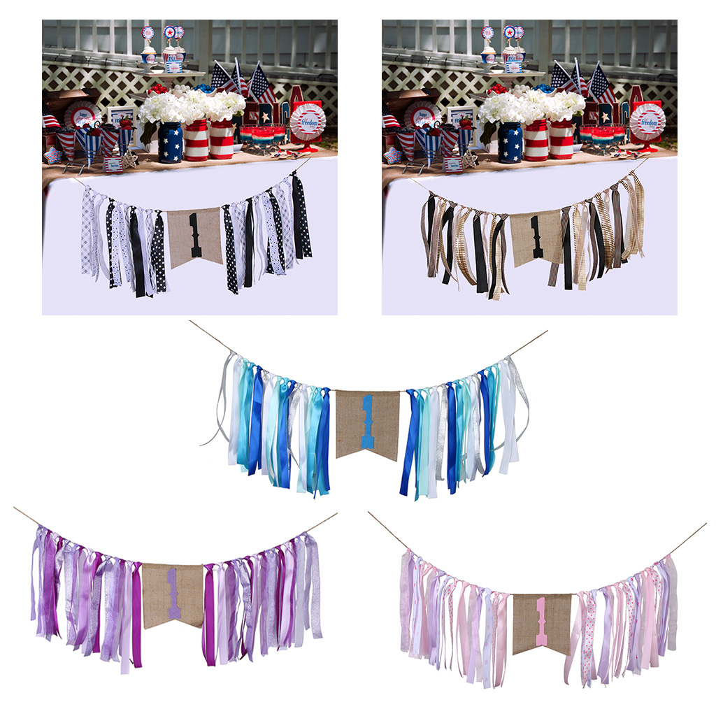 Baby Shower Boy Girl 1st Birthday Party Decoration Colorful Kids Birthday Bunting Banner High Chair Satin Banner