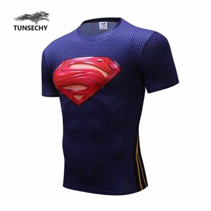 2016 BARU KEBUGARAN DIKOMPRESI DAN SUPERMAN, SPIDER-MAN 3D LENGAN PENDEK T-SHIRT UNTUK BERGABUNG DENGAN GAUN MUSIM PANAS KEBUGARAN