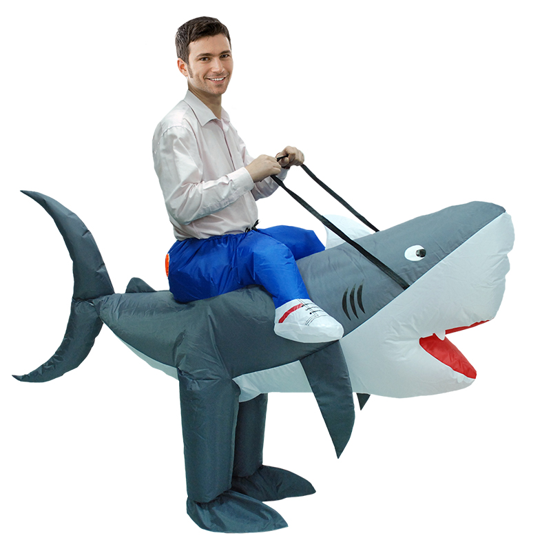 Hot Carnival Anime Cosplay Halloween Party Inflatable Shark Costume Animal Shark Cosplay Suits For Women Men Adult Fancy Dress