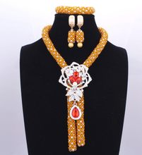 One-ring Establishment Luxurious Nigeria Gold Orange Jewelry Sets Necklace With Rose Pin Earring Bracelet Free Shipping(China)