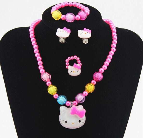 1 комплект, бусы принцессы с искусственным жемчугом для маленьких девочек, Милые ожерелья с кошкой Китти, браслеты, детские ювелирные изделия, вечерние, рождественский подарок