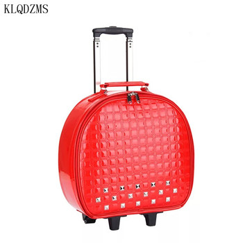 KLQDZMS personality girls carrys on luggage PU leather rolling luggage spinner rivet pattern travel suitcase with wheels