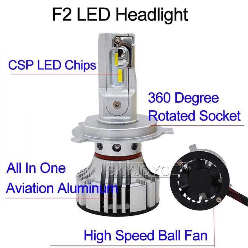 SKYJOYCE New H4 F2 LED Car Headlight Bulb Kit H7 H1 HB3 9005 HB4 9006 72W 12000LM CSP Chips 6500K White H11 LED Fog Lamp Bulbs (23)