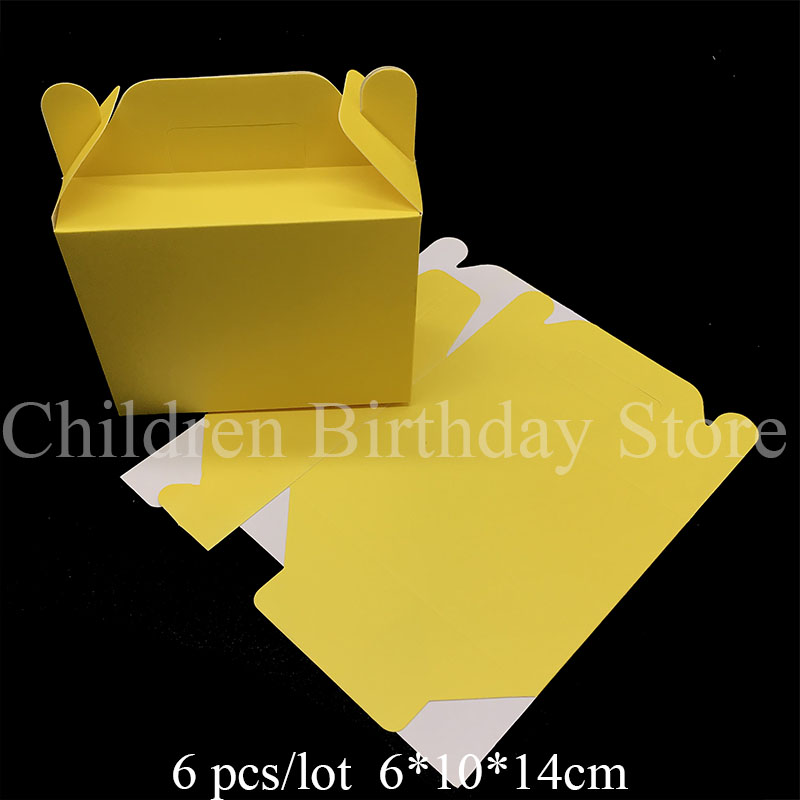 6pcs Lot Solid Color Yellow Theme Candy Box Kids Birthday Party