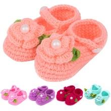 Brand Baby Shoes Newborn Handmade First Walker Baby Knitted Girls Shoes Crochet Infantis MeninasFlower Baby Slippers Shoe Pink