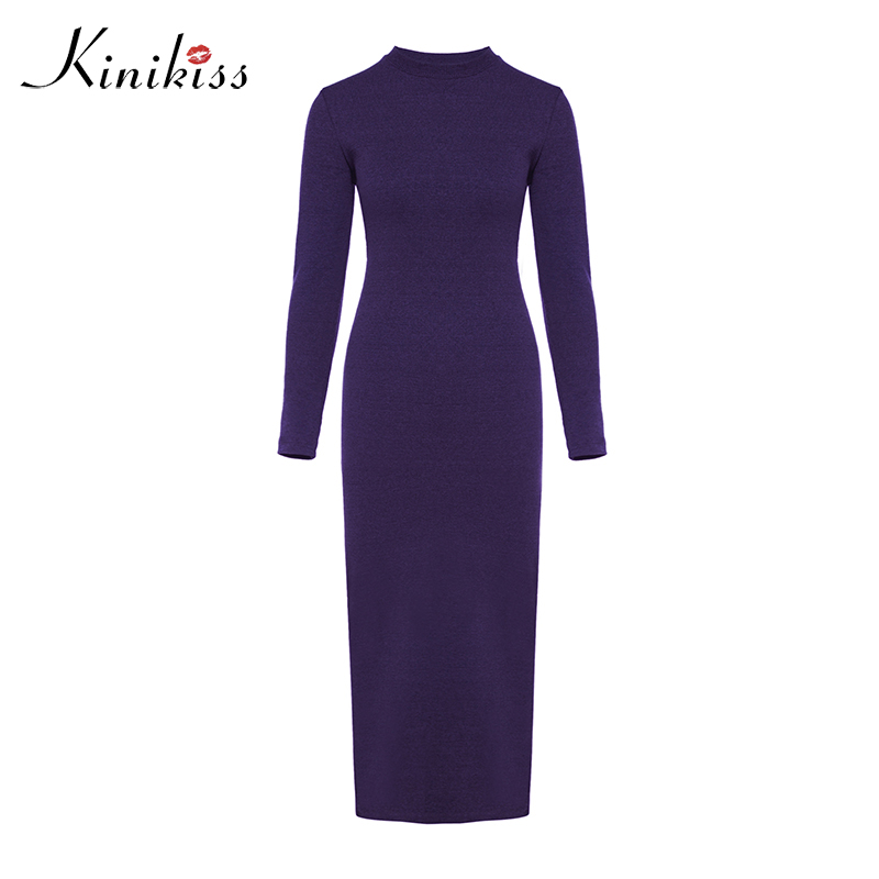 Kinikiss Women Knit Maxi Dresses Winter Causal Long Sleeve Elegant Sweater Dress Purple Bodycon Knitted In From S Clothing On