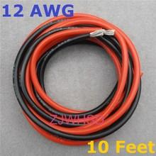 12 AWG 10 pieds 3 mètres jauge Silicone fil Flexible toronné cuivre câbles électriques pour RC à la fois noir/rouge deux fils