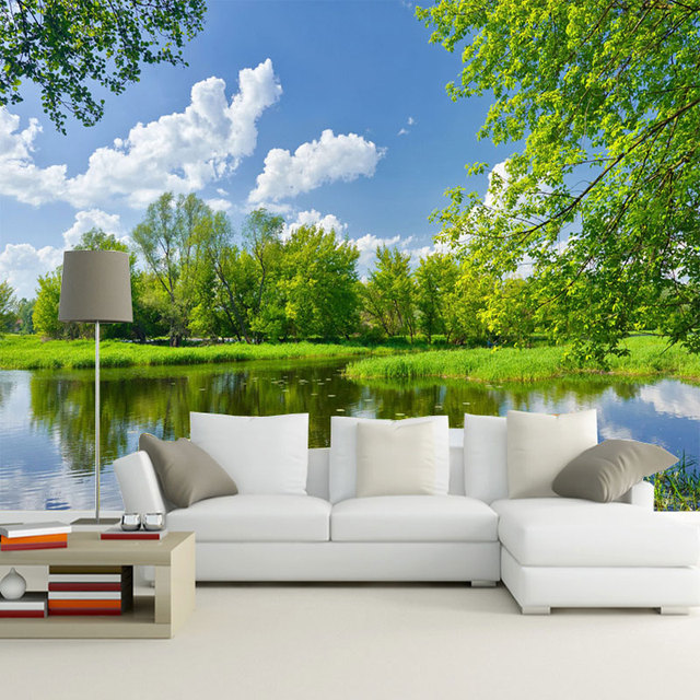 Custom photo wallpaper beautiful lake landscape 3d wall for Beautiful wallpaper home decor