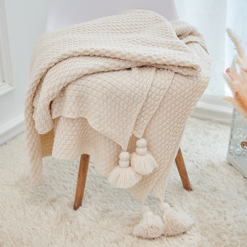 Solid Tassel Blanket Cross Woven Couch Throw Knitted Blanket with Decorative Fringe Lightweight For Bed Living Room Sofa Decor