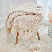 Solid Tassel Blanket Cross…
