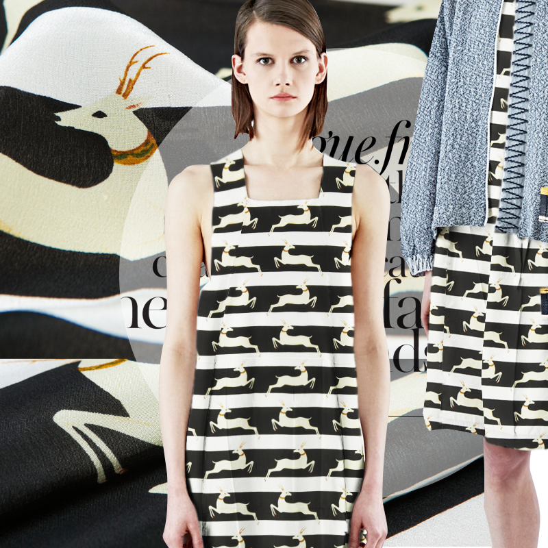 Zebra crossing antelope cartoon stripe printed pure silk crepe DE chine clothing fabric silk shirt fabrics one m lazy