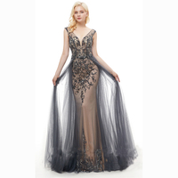 Ameision Formal Evening Dress Long Sleeves 2019 Sexy Beading Illusion Evening Gowns for Women Dubai Arabic robe de soiree