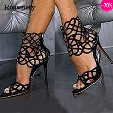 Women New Fashion Black Suede Leather Cut-out Ankle Wrap High Heel Sandals Super High Gladiator Sandals Dress Shoes