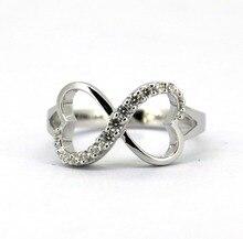 Dvojitý srdce Nekonečný prsten v Sterling Silver & CZ Všechny velikosti
