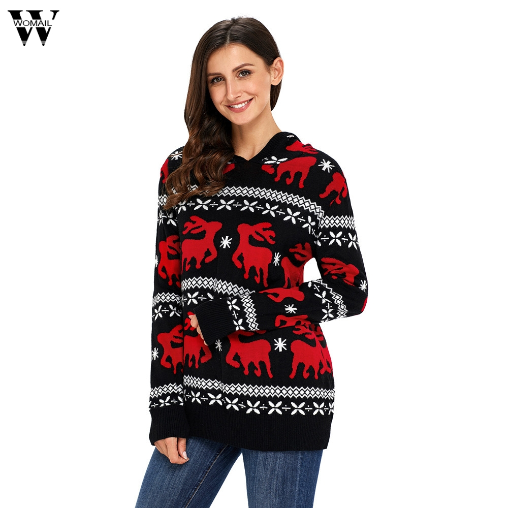 Womail 2017 Autumn Winter New Christmas Knit Sweater Long Sleeve Casual Sweater Dropship 171026