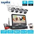 Sannce hd 720 p wifi sistema de segurança de vídeo com tela lcd 10'1 4 pcs 720 P 1.0MP IP Sem Fio Da Câmera de Vigilância CCTV kit 1 TB HDD