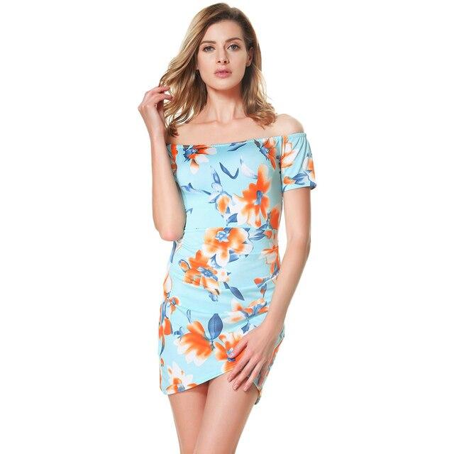 81bc685d47ca82 Women Floral Off the Shoulder Dress Slash Neck Ruched Vintage Wrap Dress  Short Sleeves Back Zipper Mini Summer Dress 2019 Blue