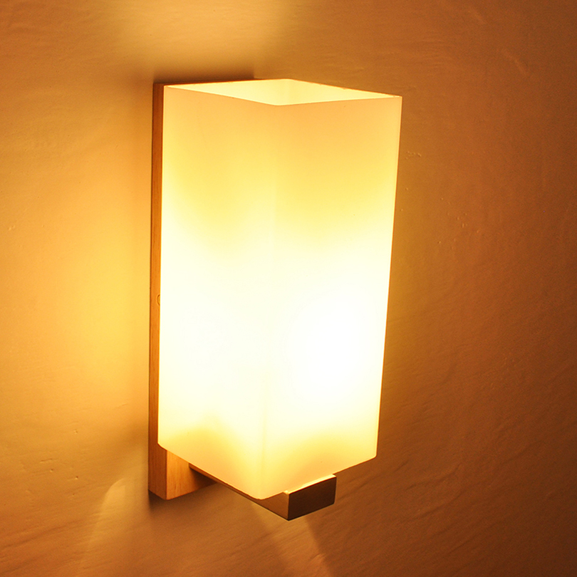 Ganeed One-Light Wooden Wall Sconces Light Led Lamp with Glass Shades for Living Room Bedrooms Corridor Home Lighting Decoration modern acrylic led wall lights bedroom bedside wall lamp lampara de pared bed room decoration lighting wall sconces